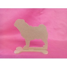 4mm MDF Pug dog on a base